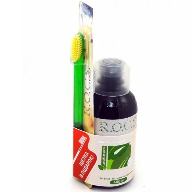 Rocs (Рокс) набор Ополаскиватель Двойная мята 400мл + зубная щетка R.O.C.S. классическая средняя