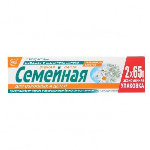 Купить Зубная паста Семейная ромашка и тысячелистник 130гр. Свобода
