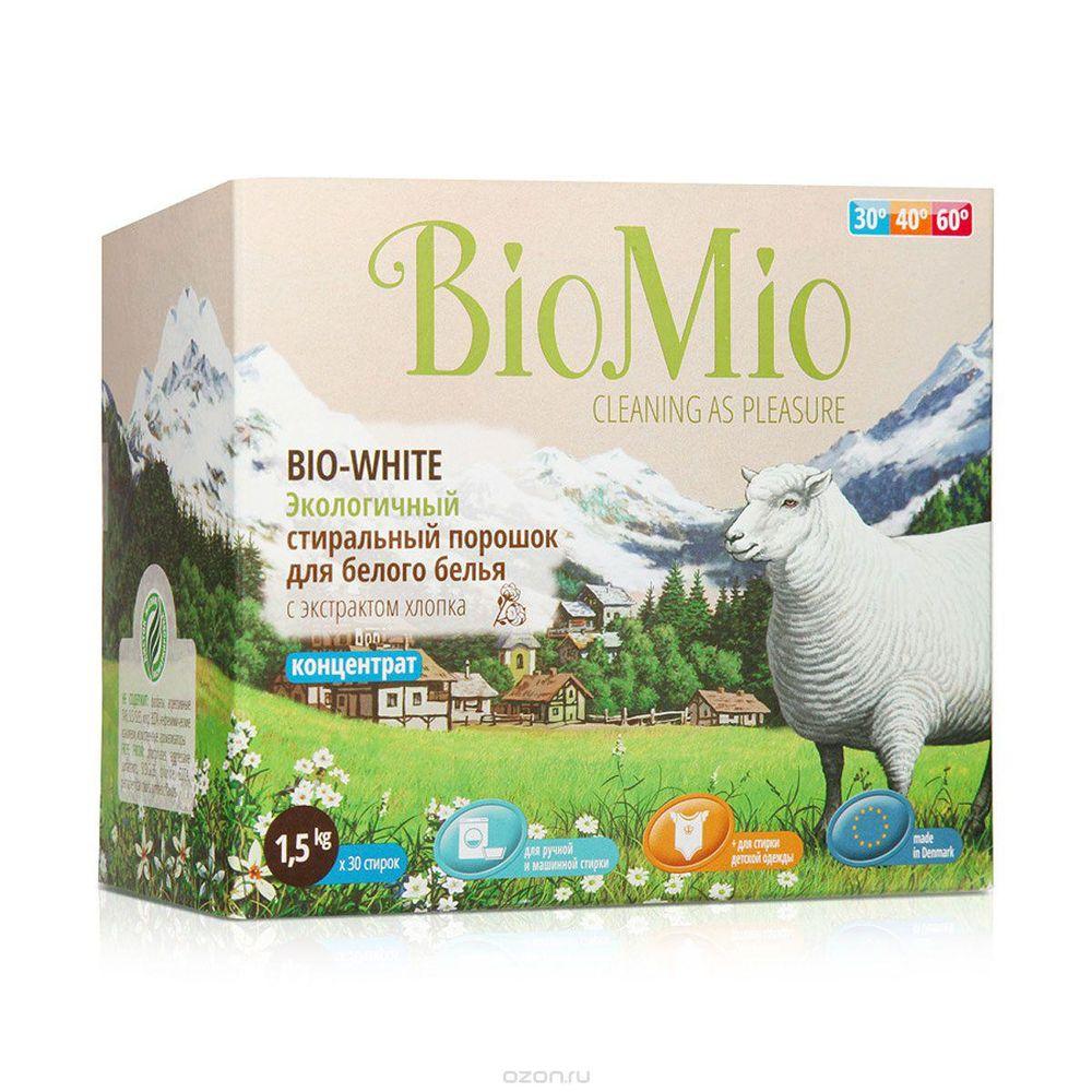 Купить BIOMIO BIO-WHITE концентрированный стиральный порошок без запаха с экстрактом хлопка для белого белья 1, 5кг