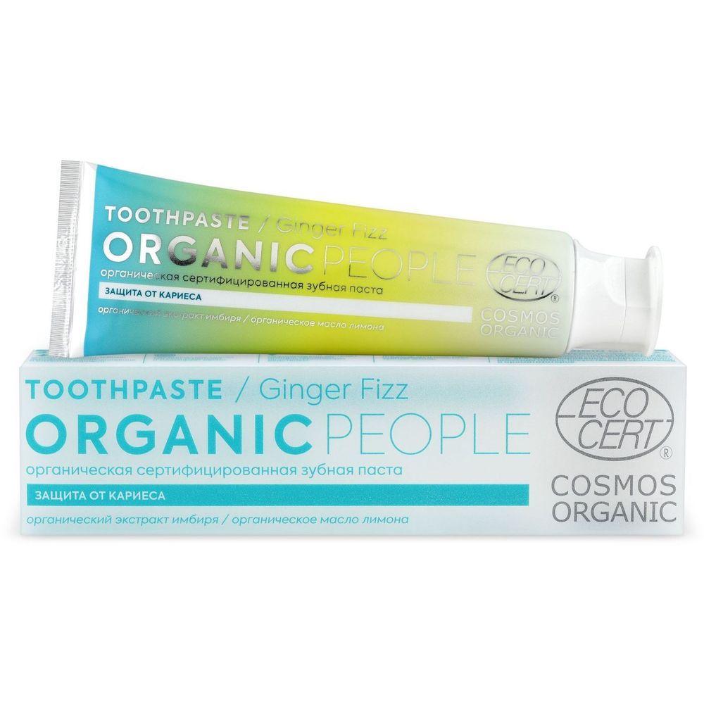 Organic people Зубная паста ginger fizz органическая сертифицированная 85г.