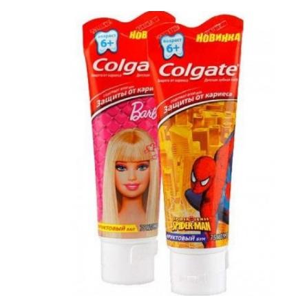 Купить Колгейт Зубная паста Барби, Спайдермен для детей 6+ 75мл, Colgate