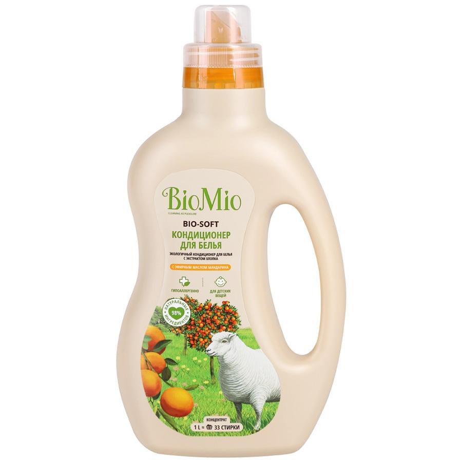 BIOMIO BIO-SOFT Экологичный кондиционер для белья с эфирным маслом Мандарина 1000мл