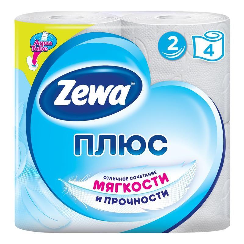 Zewa Бумага туалетная Плюс двухслойная Белая 4шт