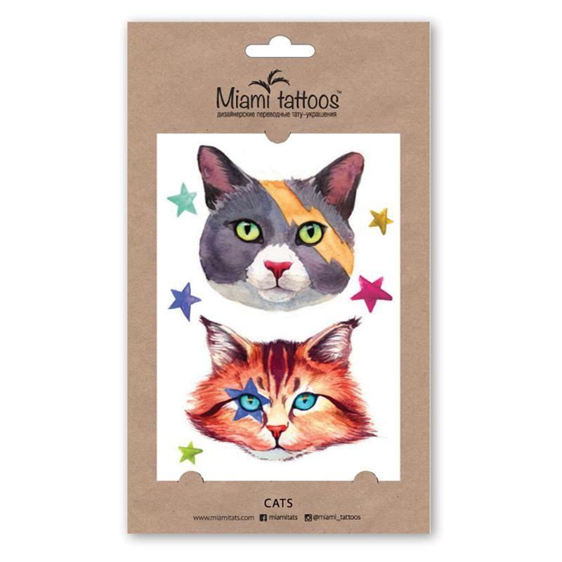 Miami tattoos акварельные переводные тату cats