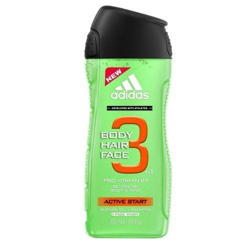 Adidas Body-Hair-Face Active Start гель для душа, шампунь и гель для умывания для мужчин 250 мл от Лаборатория Здоровья и Красоты