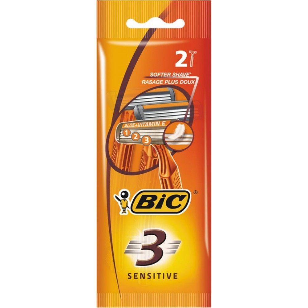 Bic Бритвенный станок с 3 лезвиями BIC3 Sensitive для чувствительной кожи блистер 2 штуки