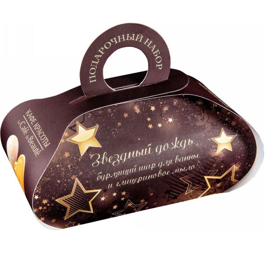 Кафе Красоты Набор подарочный Звездный дождь мыло глицериновое 80г + бурлящий шар 110 г