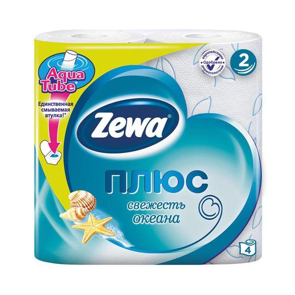 Зева/Zewa Бумага туалетная Плюс двухслойная с ароматом океанической свежести 4шт