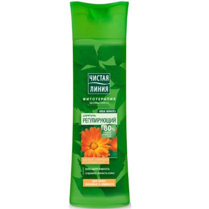 Чистая Линия Шампунь для волос склонных к жирности регулирующий на отваре целебных трав с экстрактом шалфея календулы и тысячелистника 400мл