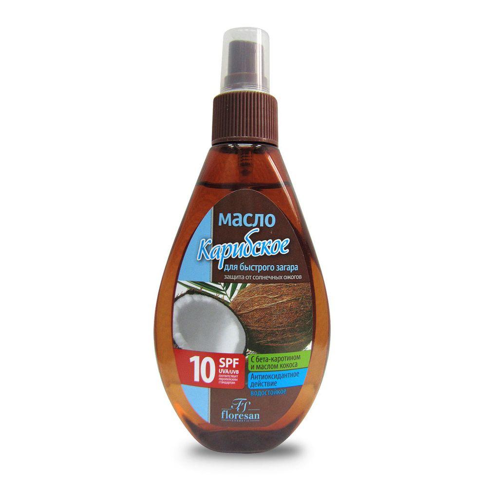 Floresan Пальмовый рай масло для быстрого загара Карибское SPF10 160мл фото