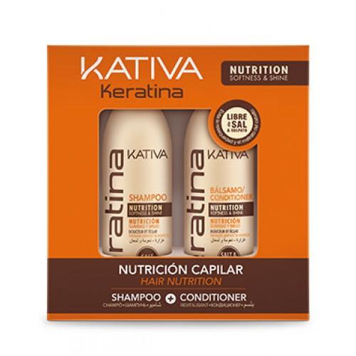 Купить Kativa Keratina набор укрепляющий шампунь+ конциционер с кератином для всех типов волос 2х100мл