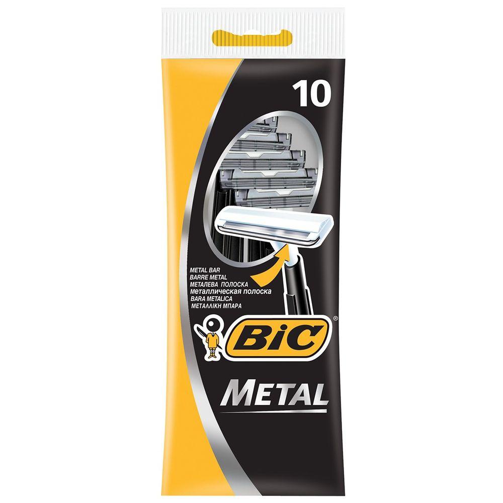 Bic Бритвенный станок с 1 лезвием Metal с защитным металическим покрытием блистер 10 штук