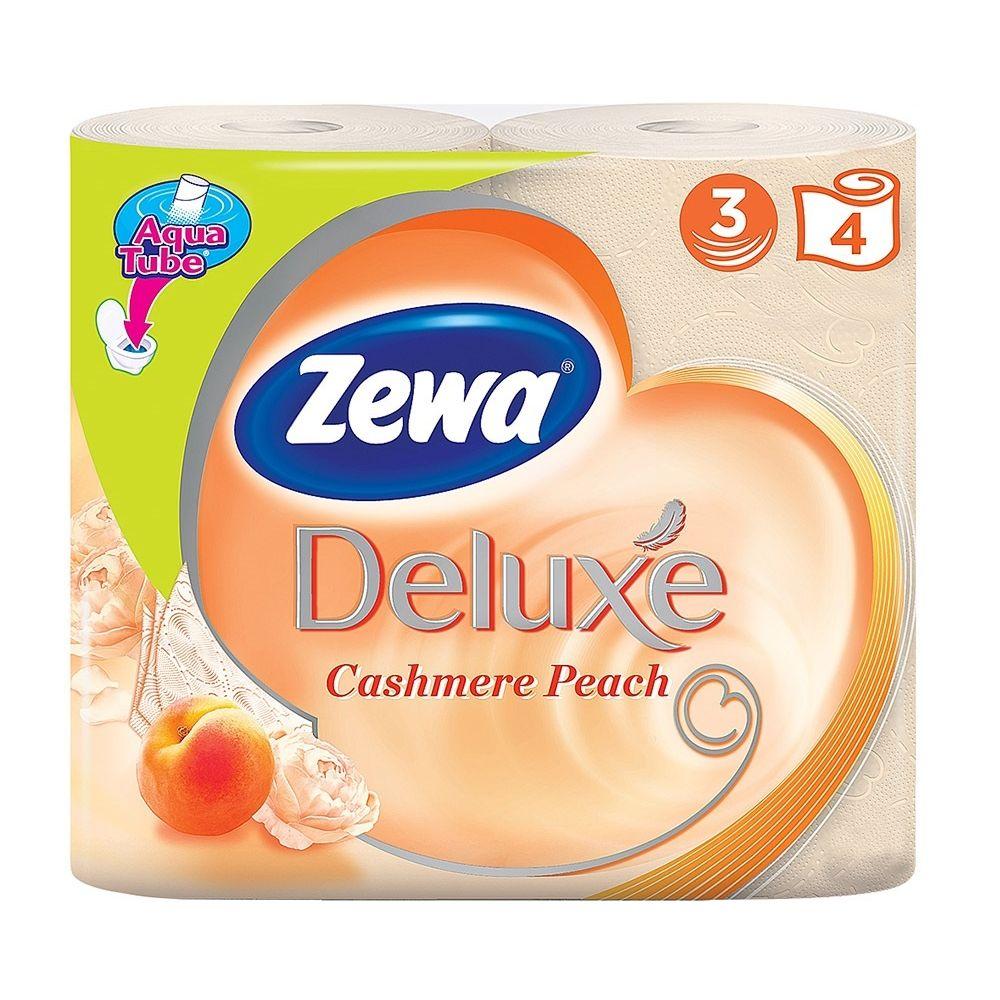 Зева/Zewa Бумага туалетная Делюкс трехслойная с ароматом персика 4шт