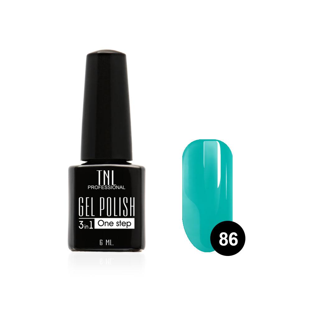 Tnl гель-лак 3 в 1 №86 - бирюзово-синий 6 мл