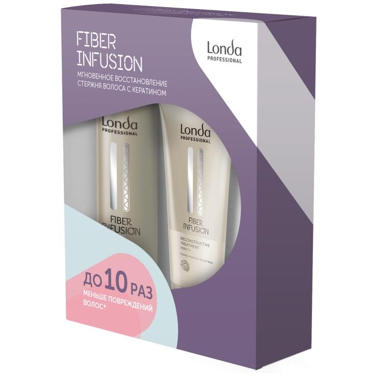 Купить Londa Fiber Infusion Подарочный набор: шампунь 250мл, восстанавливающее средство 200мл, Londa Professional