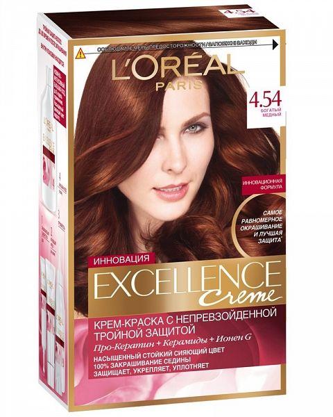 Купить Loreal Excellence Краска для волос тон 4.54 богатый медный, Loreal Paris