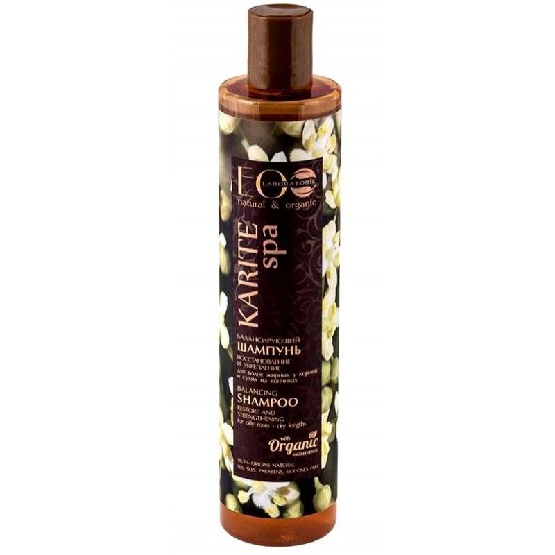 Купить Эколаб SPA Karite Шампунь для жирных у корней и сухих на кончиках волос Восстановление и укрепление 350 мл, Ecolab