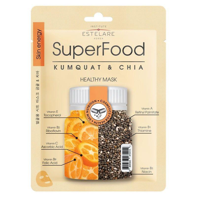 Estelare Superfood тканевая маска для лица Кумкват и Чиа 25 г.