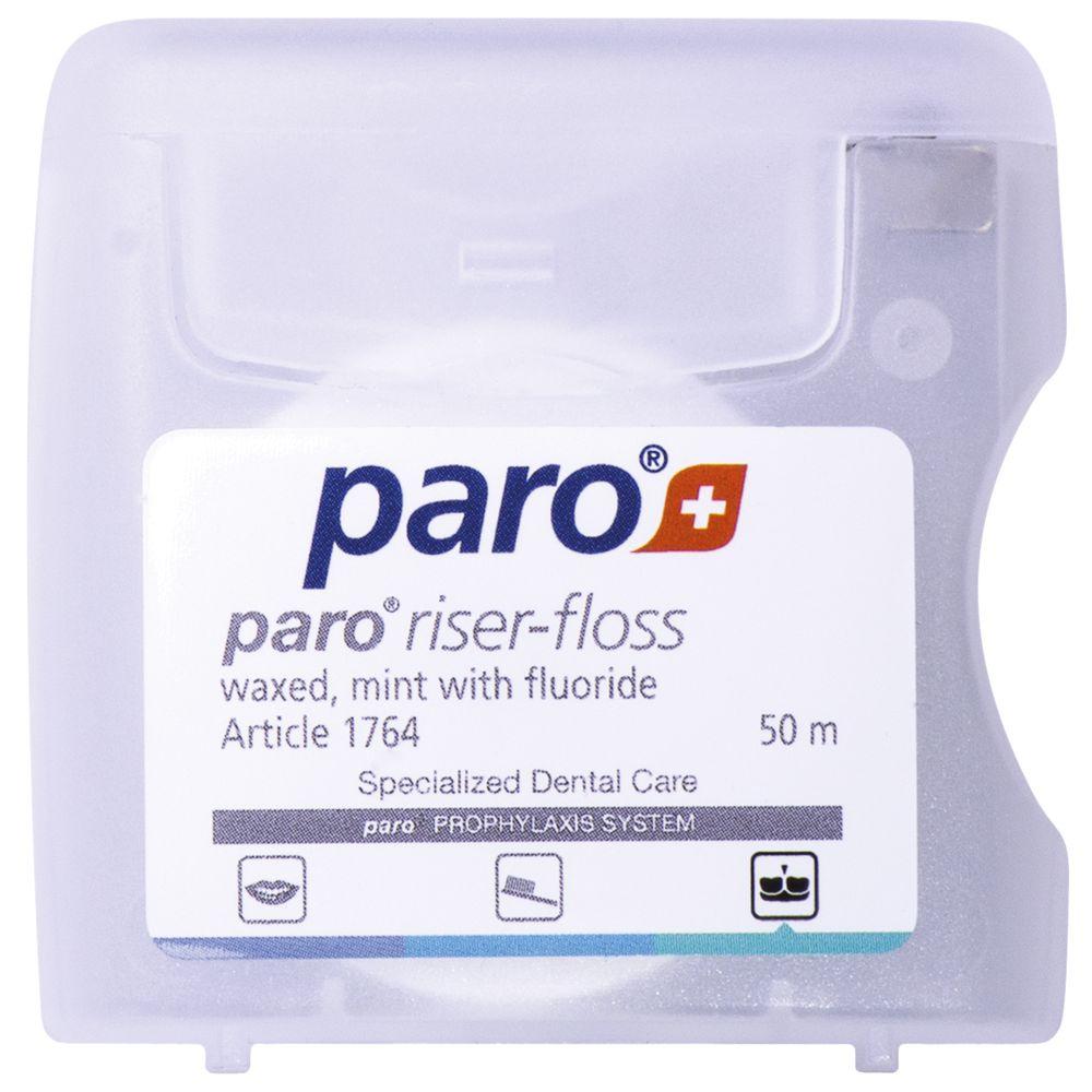 Paro riser floss Зубная нить вощеная, с ментолом и фтором 50 м