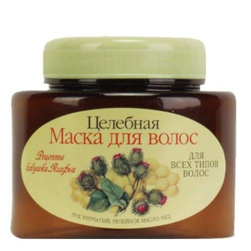 Рецепты бабушки Агафьи Маска для всех типов волос лук масло мед 250м от Лаборатория Здоровья и Красоты
