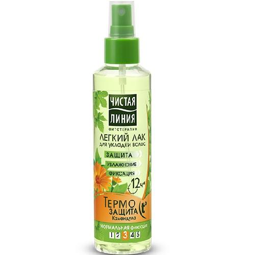Чистая Линия Лак для укладки волос легкий Термозащита 160мл.
