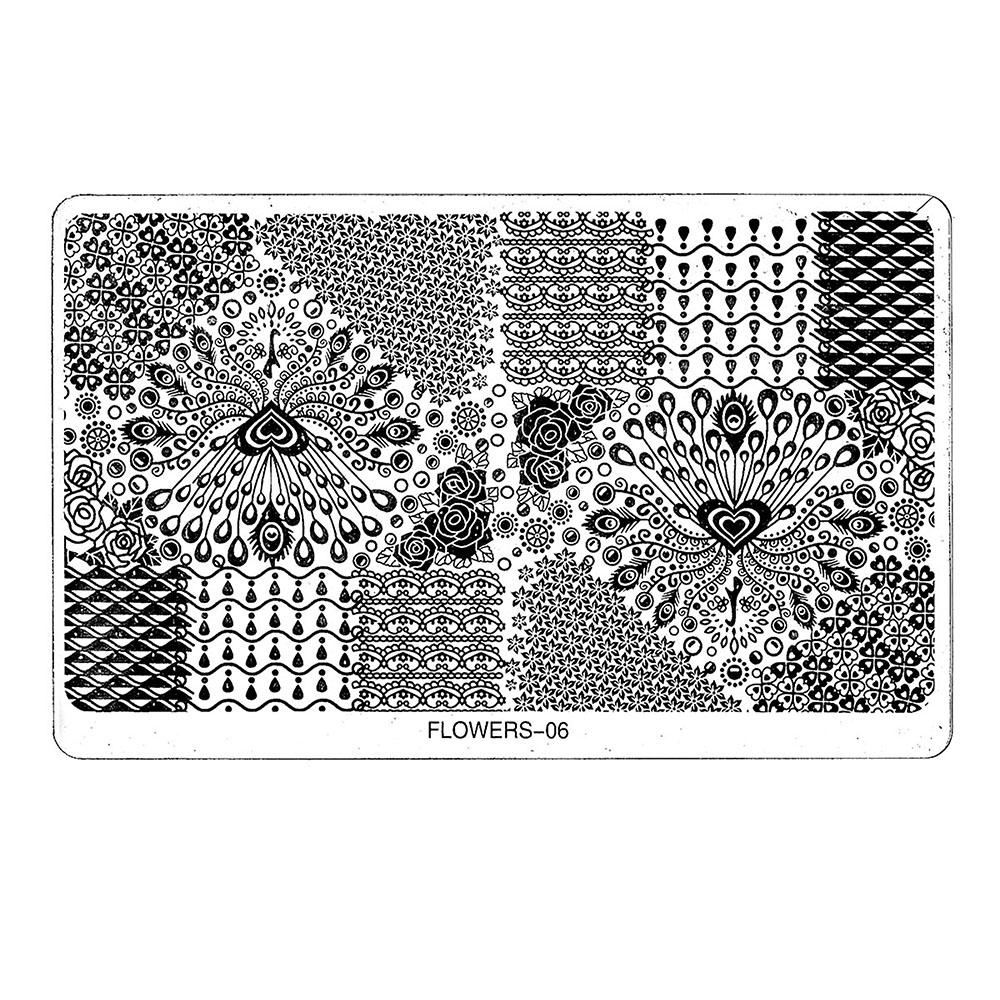 Tnl трафарет металлический для стемпинга большой - павлин в индивидуальной упаковке