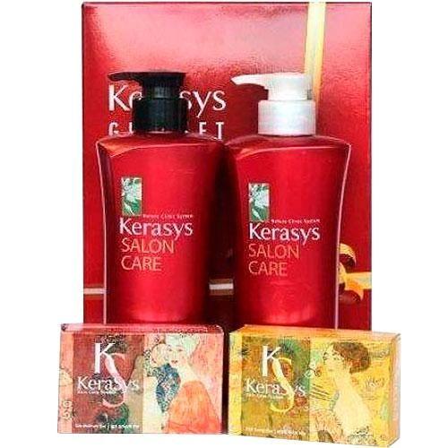 Kerasys салон кэр объем №6 набор шампунь 470мл+кондиционер 470мл мыло 2шт