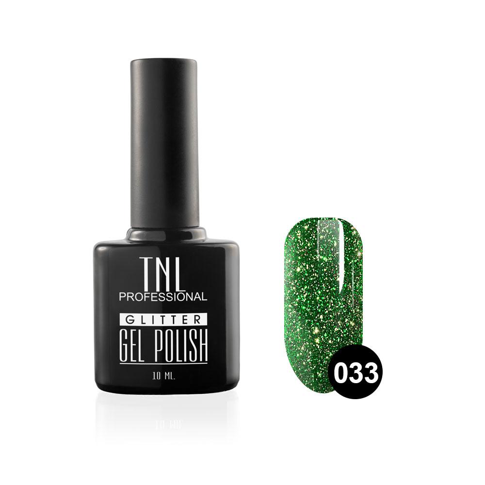 Tnl гель-лак glitter №33 - зеленый с мелким