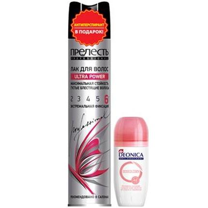 Купить Прелесть набор: Лак для волос ULTRA POWER экстремальной фиксации 300мл + Антиперспирант Deonica Пудра 50мл (ролик)