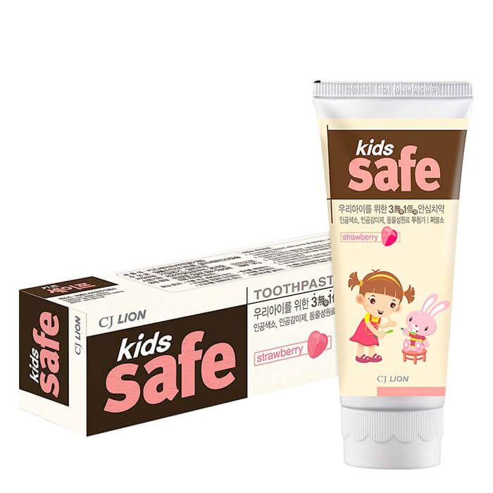 Lion Детская зубная паста Kids safe strawberry со вкусом клубники 3-12 лет 90 гр