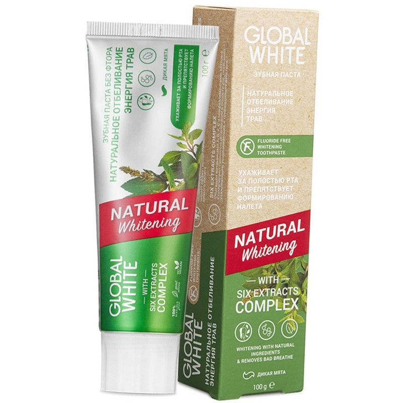 Global white Зубная паста NATURAL WHITENING Натуральное отбеливание 100мл