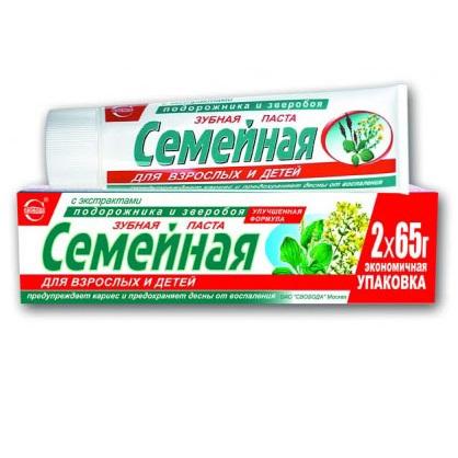 Купить Зубная паста Семейная с экстрактом подорожника и зверобоя 130мл Свобода