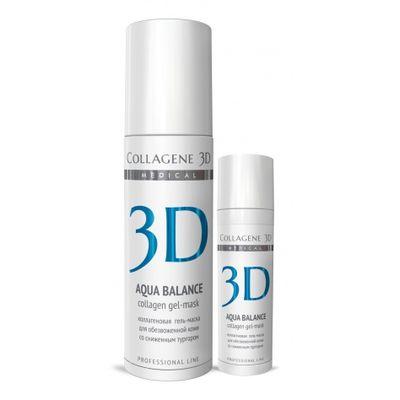 Коллаген 3Д Гель-маска для лица AQUA BALANCE с гиалуроновой кислотой восстановление тургора и эластичности кожи, Collagene 3D  - Купить