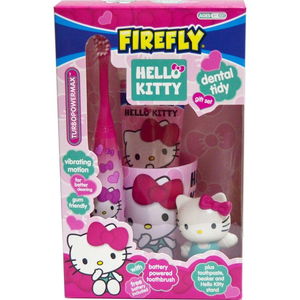 Hello Kitty Dental tidy Gift Set Набор: подставка с игрушкой, стакан, щетка Turbo на батарейке, паста 75мл