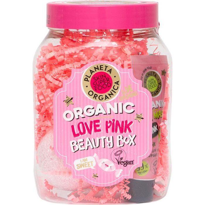 Купить Планета органика набор Love Pink: бомбочка 120г+маска 30мл+гель для душа 50мл, Planeta Organica