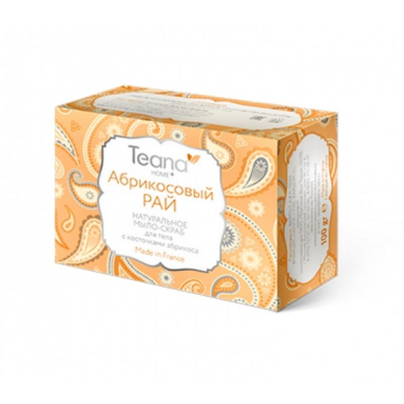 Teana/Теана АБРИКОСОВЫЙ РАЙ Натуральное мыло-скраб для лица и тела с косточками абрикоса 100 гр