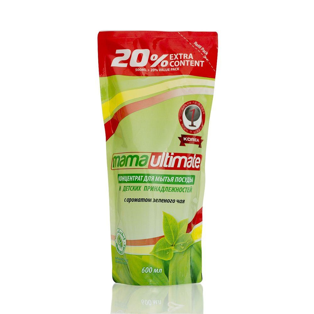 Купить Mama Ultimate Зеленый чай Концентрат для мытья посуды, 600мл запасной блок
