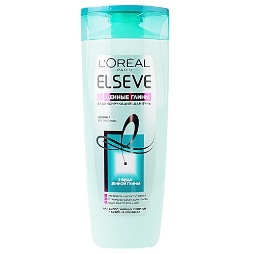 Купить Лореаль ЭЛЬСЕВ (Elseve) Шампунь для волос 3 Ценные глины 400мл, Loreal Paris