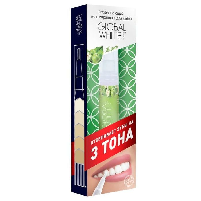Global white Отбеливающий карандаш-апликатор со вкусом Яблока 5мл