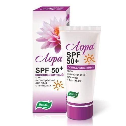 Лора SPF 50+ крем для лица солнцезащитный антивозрастной 30г от Лаборатория Здоровья и Красоты