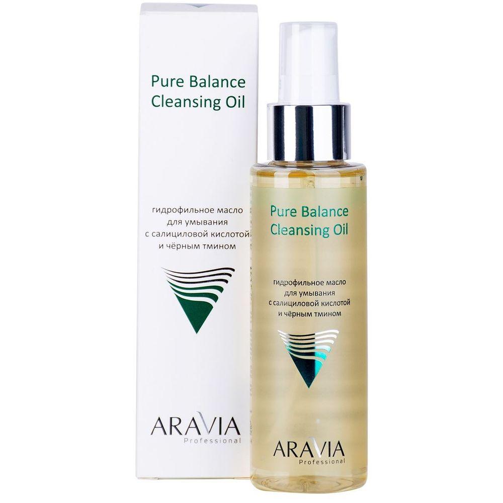 Купить Aravia Professional Гидрофильное масло для умывания с салициловой кислотой и черным тмином Pure Balance Cleansing Oil 110мл