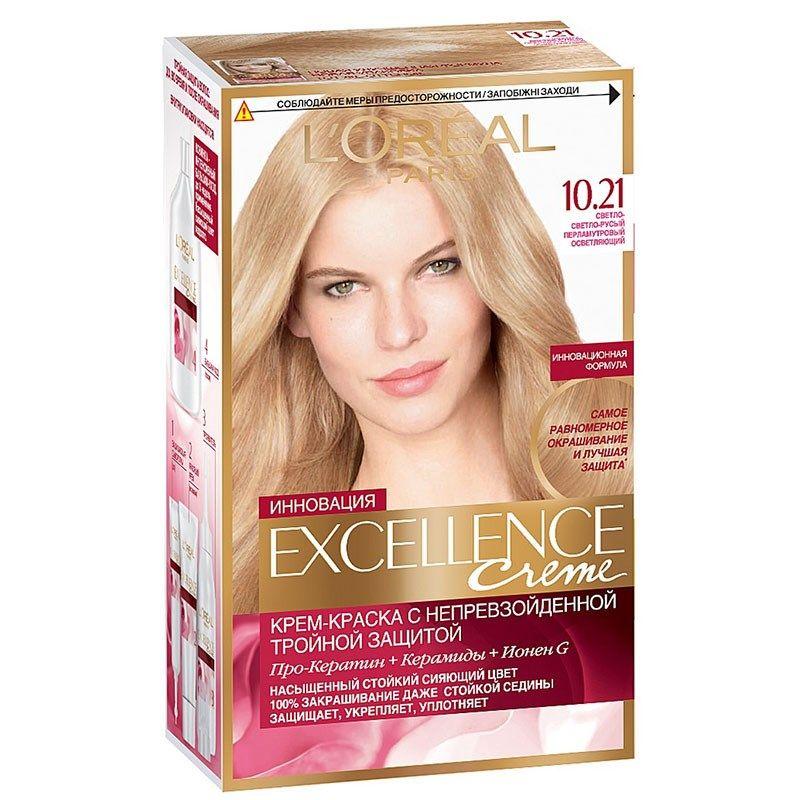 Купить Loreal Paris EXCELLENCE Краска для волос тон 10.21 Светло-светло русый перламутровый осветляющий