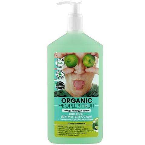 Organic People Эко гель для мытья посуды Органическая дикая мята и лайм 500 мл