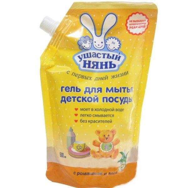 Купить Ушастый нянь Гель для мытья детской посуды 500мл дой-пак