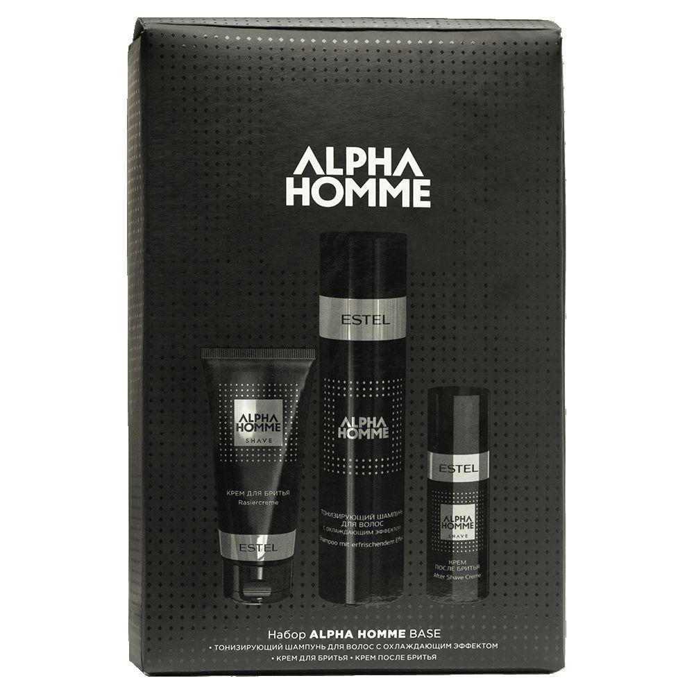Estel Alpha Homme Набор для мужчин BASE шампунь для волос 250мл,крем для бритья 100мл,крем после бритья 50мл