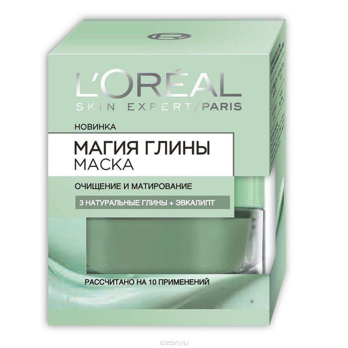 Купить со скидкой Loreal Маска для лица Магия глины Очищение и матирование 3 натуральная глины+эвкалипт 50 мл