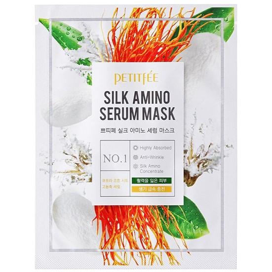 Купить Petitfee Маска для лица тканевая с протеинами шелка Silk Amino Serum Mask 25г