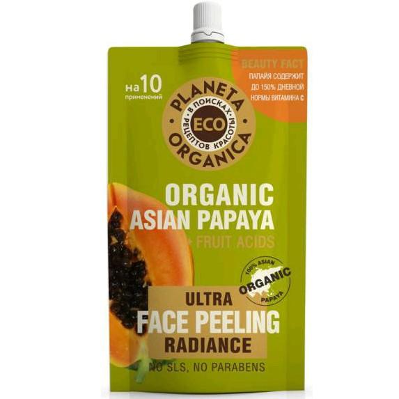 Купить Планета органика ECO пилинг для сияния кожи лица азиатская папайя 100мл, Planeta Organica