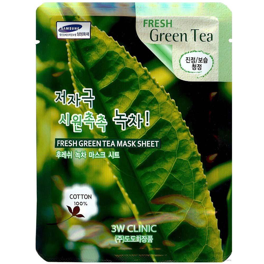 3W Clinic Тканевая маска для лица Зеленый чай Fresh Green tea Mask Sheet фото