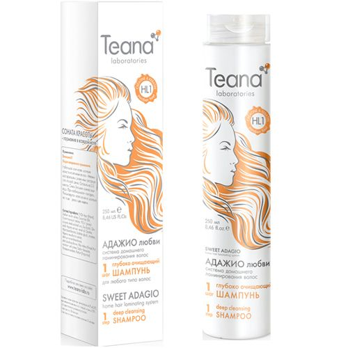 Teana/Теана Адажио любви ШАГ1 Глубоко очищающий шампунь с Кератином и Креатином 250 мл